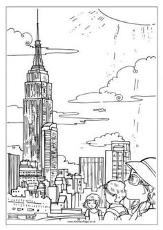 Empire State Building Colouring Page - Coloring pages for sites in the U.S.