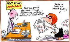 457 visas and Julia Gillard staff appointments cartoon (6 March 2013)