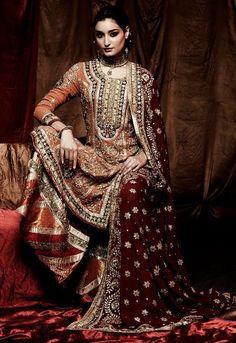 Miss India World 2011 Kanishtha Dhankar looks ravishing in this intricate Ritu Kumar ensemble. Indian Bridal Wear, Pakistani Bridal, Indian Wear, Indian Style, Indian Dresses, Indian Outfits, Ethnic Outfits, Pakistani Dresses, Ethnic Fashion