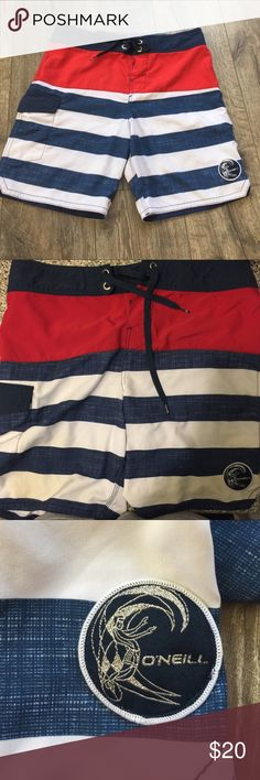 """!SALE! O'Neill Boardshorts in red/white/blue Lightweight & light worn boardshorts by O'Neill. 17"""" Hip to Thigh with Velcro tie combo. One side pocket. Great condition with no stains or rips. O'Neill Swim Board Shorts"""