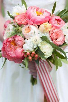 Urban Petals - coral charm peonies, juliet garden roses, hypericum berries