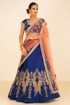 NIYOOSH blue and peach embroidered lehenga set #flyrobe#wedding#weddingoutfit#designerdress#designeroutfit#lehengacholi