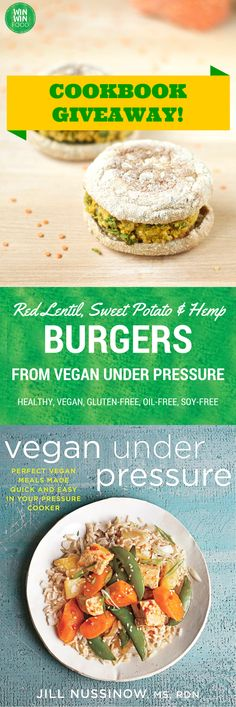 Red lentil, sweet potato and hemp burgers from the Vegan Under Pressure cookbook Healthy Vegan Snacks, Delicious Vegan Recipes, Raw Food Recipes, Healthy Recipes, Vegan Food, Vegan Lunches, Vegan Meals, Eating Healthy, Healthy Life