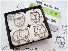 Cats stamps set of 4 with a boxHand carved by JapaneseRubberStamps, £10.00