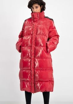 Shop Daily Paper Red Puffer Coat at Season Bringing fashion back to outerwear. Grey Puffer Coat, Parka Coat, Puffer Jackets, Winter Jackets, Body Warmer, Shades Of Red, Winter Months, Style Guides