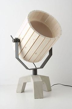 Natural Barrel And Baby Barrel Lamps From Wood And Concrete | DigsDigs