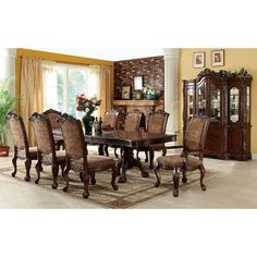 b4dee7e66c Sun & Pine Elegant Claw Feet Carved Arm Chair in Antique Cherry (Set of 2).  Oak Dining TableDouble ...