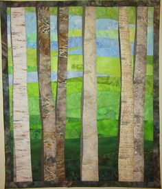 Art Quilt Birch Trees in Spring Wall Quilt Wall Hanging