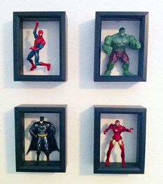 marvel bedroom Shadow Boxes With Action Figures Craft Stuff Boy Room Boys Superhero Bedroom, Boys Bedroom Decor, Baby Bedroom, Superhero Room Decor, Kids Bedroom Boys, Kid Bedrooms, Bedroom Furniture, Bedroom Small, Bedroom Modern
