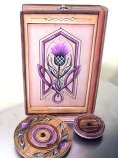 Thistle and Knot Hand Painted Charkha Spinning by BadfaerieDesigns
