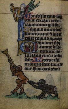 Detail of marginal grotesques of (below) monkeys blowing horns and (above) a winged man with animal legs playing a harp; from the Maastricht Hours, Netherlands (Liège), 1st quarter of the 14th century, Stowe MS 17, f. 61v.