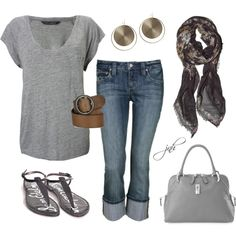 This is my go to outfit. Casual Grey Spring Outfit, loose grey knit top and sandals. Silver hoop earrings though. Don't forget the MaryKay Firecracker Red Lipstick! Mode Outfits, New Outfits, Fall Outfits, Summer Outfits, Fashion Outfits, Womens Fashion, Outfits 2014, Airport Outfits, Fashion Clothes