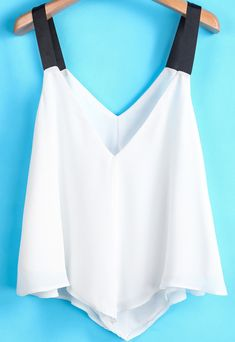 To find out about the White Contrast Spaghetti Strap Chiffon Vest at SHEIN, part of our latest Tank Tops & Camis ready to shop online today! Summer Outfits, Cute Outfits, Look Fashion, Womens Fashion, Chiffon, Cute Shirts, Dress Me Up, Diy Clothes, Spring Summer Fashion