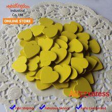 Free Shipping (200pcs/lot) Yellow 18mm Mini Wooden Hearts Pieces Decor Ideal Art Craft Card Making Wedding Favor(China (Mainland))