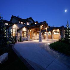 The outdoor lighting really helps make this home look stunning in the evening.