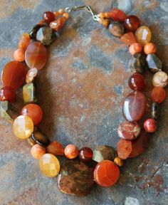 Double Strand Fall Multi Gemstone Necklace by maplejewels on Etsy, $80.00