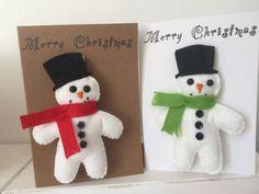 Handmade Felt Snow Man Keyring Christmas Card by MatildaMakesIt