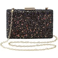 Charlotte Russe Glitter Convertable Box Clutch ($19) ❤ liked on Polyvore featuring bags, handbags, clutches, multi, structured purse, structured handbags, glitter clutches, strap purse and charlotte russe handbags