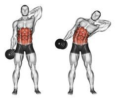 Side slopes of standing. Side slopes of standing. Exercising for bodybuilding. Target muscles are marked in red. Initial and final steps stock illustration Sixpack Workout, Ab Workout Men, Best Ab Workout, Fitness Workouts, Fitness Tips, Fitness Motivation, Street Workout, Workout Plans, Men Exercise