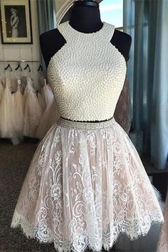 Sexy Two Pieces Halter Lace skirt Pearls bodice Cute homecoming prom dresses The halter two pieces homecoming dresses are fully lined, 8 bones in the bodice, chest pad in the bust, lace up back or zip