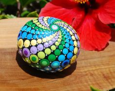 Hand painted mandala sphere 10/ Colorful ball by Mandalaole