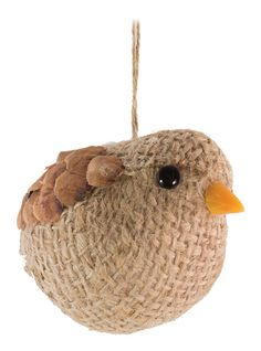 Features:  -No tail.  -Materials: Styrofoam, burlap, polyester-blend, natural pinecone.  Product Type: -Animal Ornament.  Number in Set: -1.  Attachment Type: -Hanging ornament.  Theme: -Animal. Dimen
