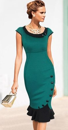 Ladylike Party Round Neck Short Sleeve   Bodycon-dress Bodycon Dress from fashionmia.com
