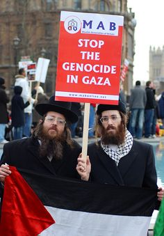 Stop the genocide in Gaza. Orthodox Jews join a Palestinian protest against the Israeli attacks on Gaza.