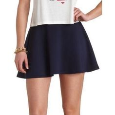 $16, Solid High Waisted Skater Skirt By Navy Blue by Charlotte Russe. Sold by Charlotte Russe. Click for more info: http://lookastic.com/women/shop_items/82798/redirect