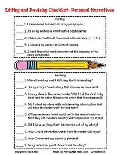 Editing and Revising Checklist for Personal Narratives - FREE!