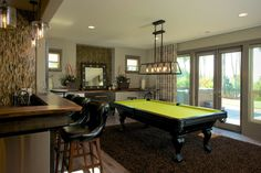 Billiard Table with Lime Green Cloth