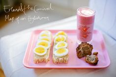Homemade bread w sliced egg, almond muffin, raspberry/banana smoothie