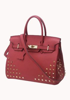 Classic Fashion Studs Caflskin Leather 25CM Tote Bag Red