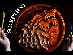 Sculpting STARK´S LOGO North Wolf made from Clay - GAME OF THRONES