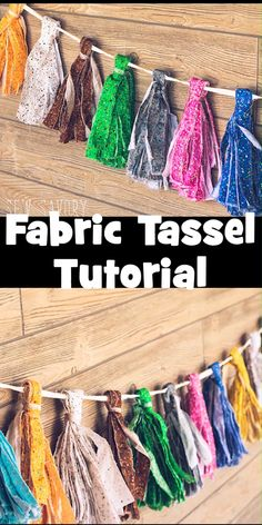 party or home decor with beautiful fabric decor Easy fun fabric decoration Fabric craft tutorial no-sew project for your next party or kids room # Scrap Fabric Projects, Fabric Scraps, Sewing Projects, Diy Projects, Fabric Garland, Fabric Decor, Tassel Garland, Teen Homemade, Diy For Teens