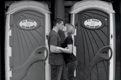 Maybe he owns port-a-potties for his living? Even in black and white, this is NOT romantic. Maybe that's where their first hookup was?