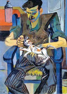 """Renato Guttuso (Italian, 1911-1987) - """"Giulio Turcato con il gatto Molotov"""", 1946"""