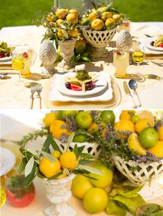 Lemons, limes, and lavendar for decor and centerpieces.