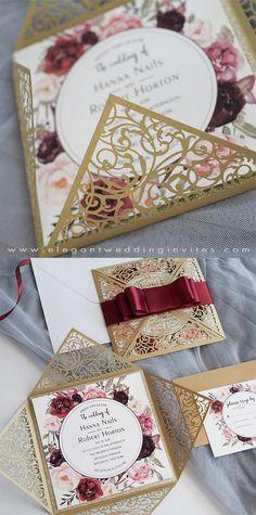 darker champagne and burgundy laser cut floral wedding invitations