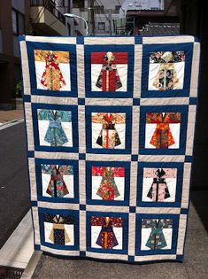 Here they are, the lovely kimonoed ladies all corralled up and quilted:         These paper-pieced blocks were made and exchanged by ladie...