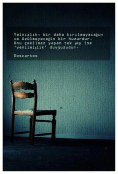 Yalnızlık, bir daha kırılmayacağın ve üzülmeyeceğin bir huzurdur. Onu çekilmez yapan tek şey ise 'yenilmişlik' duygusudur. - Descartes