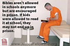 Bibles aren't allowed in schools anymore bit are encouraged in prison. If kids were allowed to read it at school, they may not end up on prison Jehovah's Witnesses, Way Of Life, 4 Life, Christian Quotes, Christian Posters, Christian Life, Word Of God, In This World, The Book