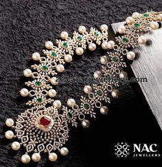 Alluring Diamond Set by Nac Jewellers Aquamarine Jewelry, Emerald Jewelry, Diamond Jewelry, Gold Jewelry, Jewelry Necklaces, Diamond Necklace Set, Pearl Diamond, Diamond Choker, Emerald Necklace