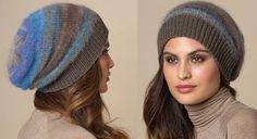 Elégant, avec ses couleurs dégradées, ce bonnet est tricoté au point jersey et côtes 1/1 en mélangeant deux fils. Un grand modèle très pratique pour les cheveux longs. Dimensions : 40 cm ...
