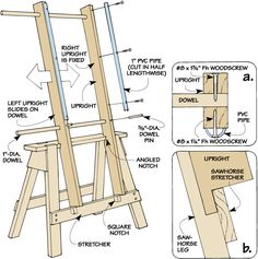 woodworking tips - Finishing easel. Art Studio Room, Art Studio Design, Diy Easel, Art Studio Organization, Art Storage, Diy Workshop, Woodworking Tips, Wooden Projects, Art Studios
