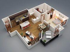 แปลนบ้านชั้นเดียวหนึ่งห้องนอน