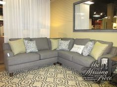 "The Julienne three piece sectional in gray with nailhead trim and a mix of patterned accent pillows. Beautiful! Ideal for a transitional style home. Love the straight, clean lines. 100""long x 100""wide x 36""high. Arrived: Tuesday December 6th, 2016"