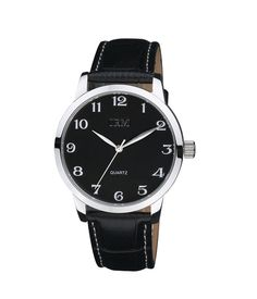 en's essentials stainless steel watch features a classic black color dial and clear and white Arabic numerals. Stainless steel case and mineral crystal glass, and the black leather strap finish the refined look of this timepiece.