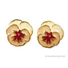 Retro Avon 1989 'Full Bloom' Pansy Earrings