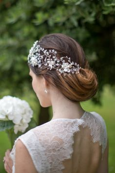 Hermione Harbutt May Blossom Headdress. An absolute show stopper,  with pearl branches that sweep across and round the head, accented by pearl and Swarovski crystal flowers. Image by Catherine Mead.